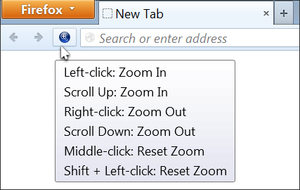 Page Zoom Button for Firefox on a Firefox toolbar