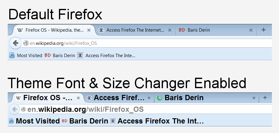 Theme Font Size Changer Firefox Add-on enabled