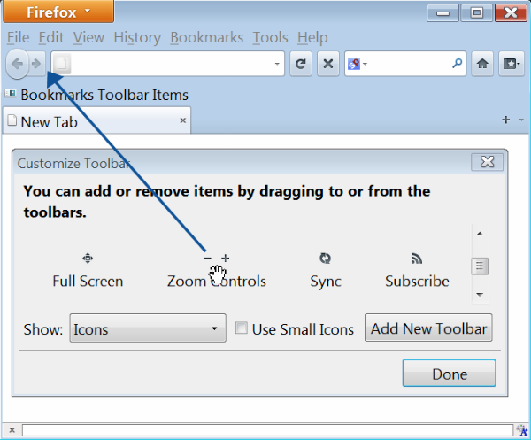 Firefox Customize Toolbar window