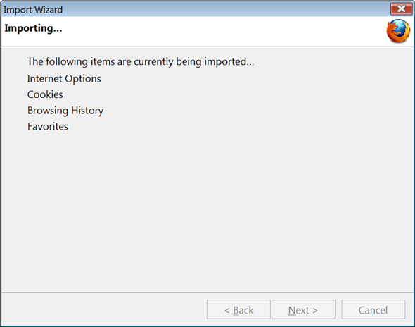 Firefox Import Wizard Step 3