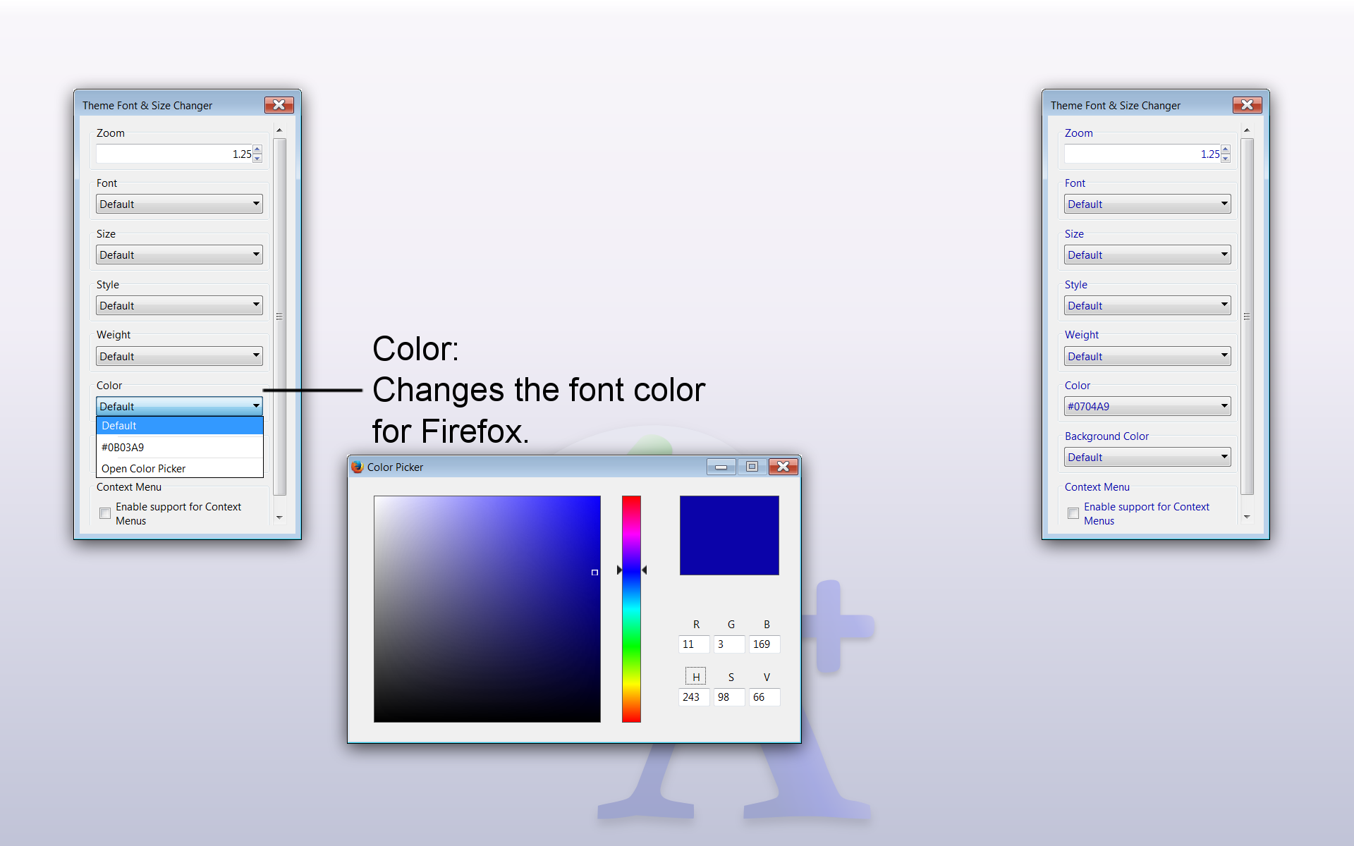 Theme Font & Size Changer: Change the font size and font family in